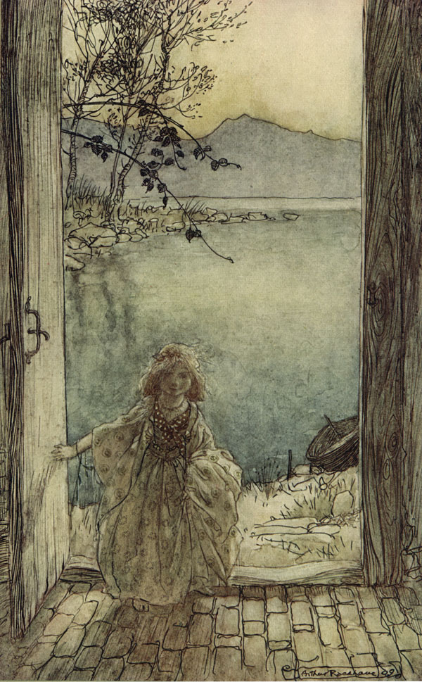 Undine - A beautiful little girl clad in rich garments stood there on the threshold smiling