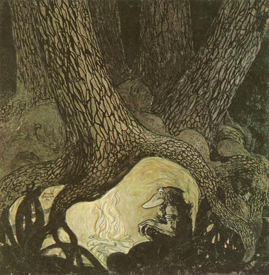 Klampe-Lampe had dug himself a large hole under seven immense spruce trees