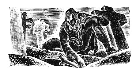 Victor Frankenstein robbing a grave